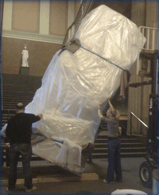 Art sculpture wrapped in plastic ready to move